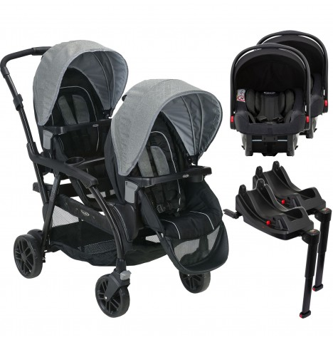 Graco Modes Duo Tandem Double Pram Twin Travel System & Isize Car Seat Bases (Snugride iSize)